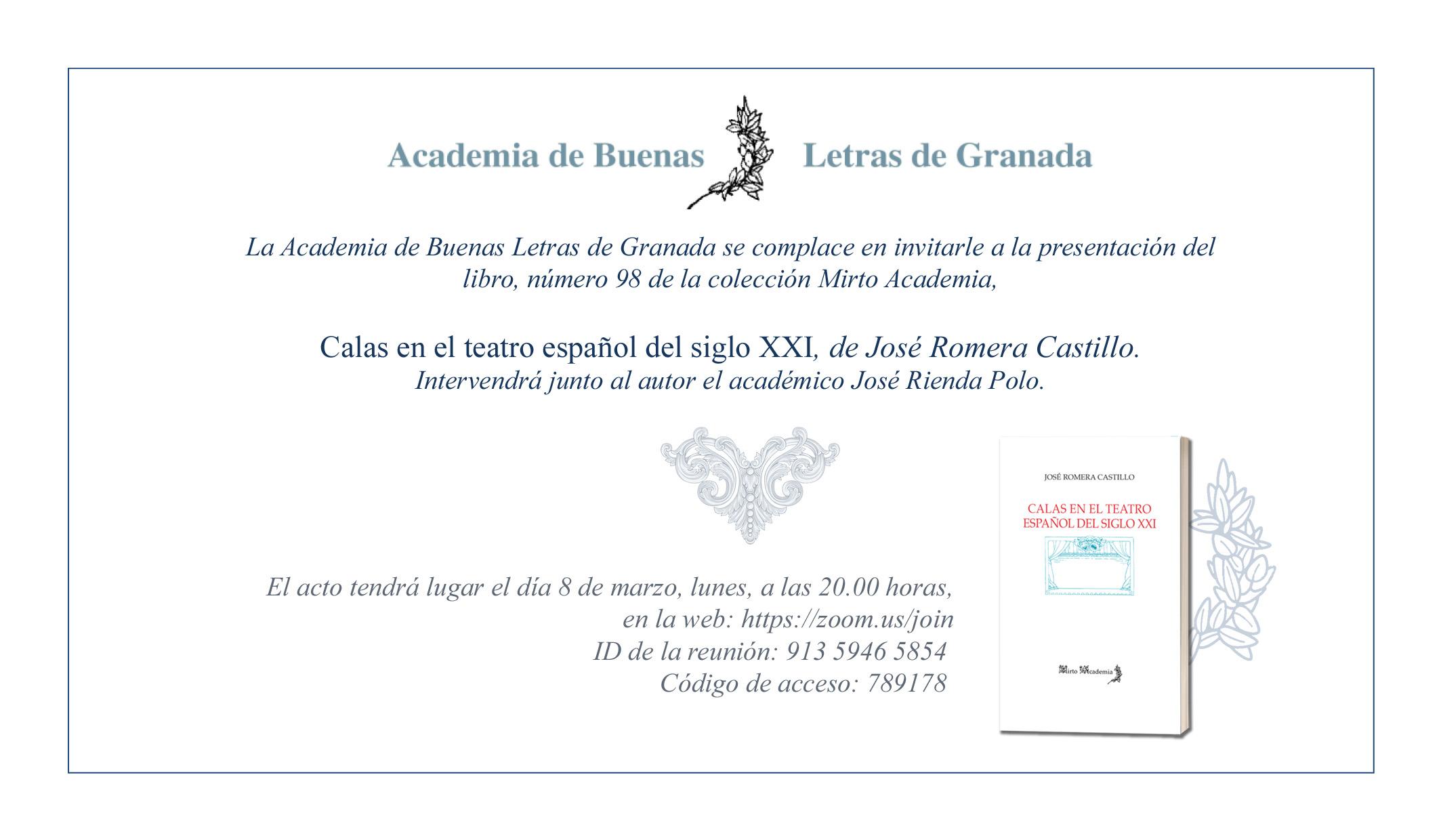 Presentación del libro Calas en el teatro español del siglo XXI de José Romera Castillo