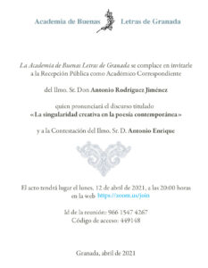 Recepción Pública como Académico Correspondiente del Ilmo. Sr. Don Antonio Rodríguez Jiménez