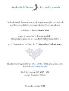 Recepción Pública como Académico Correspondiente del Ilmo. Sr. Don Gerardo Piña